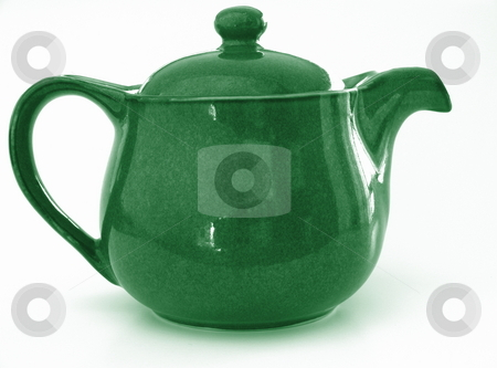 Teapot stock photo, A small, bright green teapot. Isolated on white. by Martin Darley