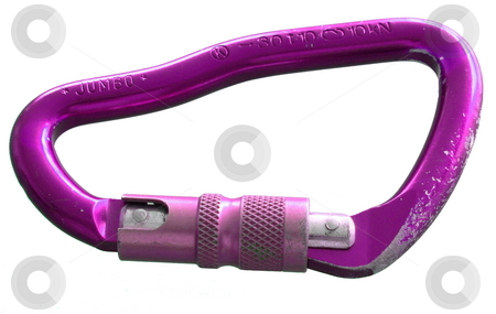 Carabiner stock photo, Large, purple, screw-gate carabiner. worn from use. Isolated on white by Martin Darley