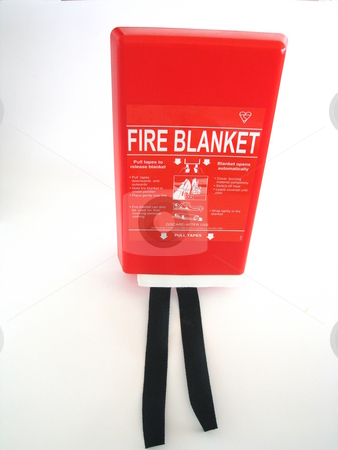 Fire Blanket stock photo, A fire blanket in its bright red casing. Isolated on white. by Martin Darley