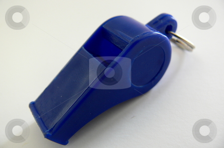 Whistle stock photo, A bright blue plastic whistle islolated against a white background by Martin Darley