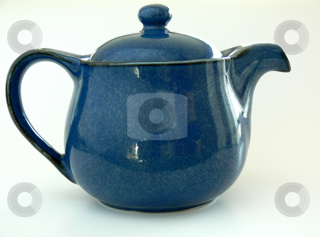 Teapot stock photo, A blue teapot. Isolated on white by Martin Darley