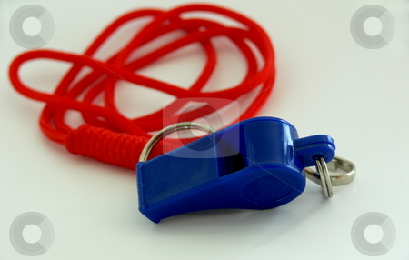 Whistle and Lanyard stock photo, A bright blue plastic whistle on a red lanyard, set against a white background by Martin Darley