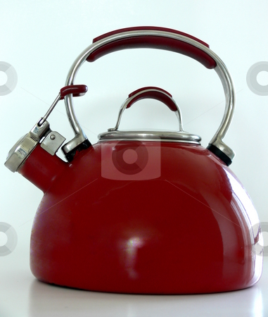 Kettle stock photo, A red kettle. Isolated on white by Martin Darley