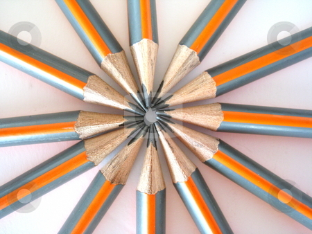 Pencils stock photo, A ring of inward facing drawing pencils. Isolated on white. by Martin Darley