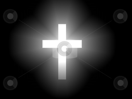 Cross with Streaming Light stock photo, A cross with light streaming out from behind it. by Gregory Dunn