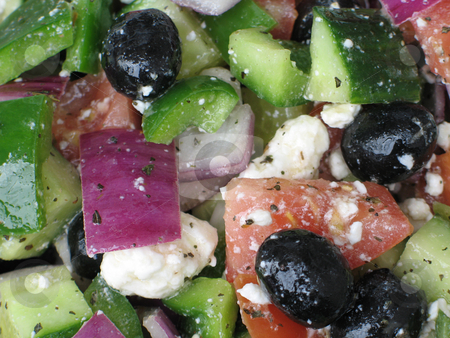 Greek salad close up stock photo, Greek salad close up by Mbudley Mbudley