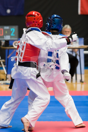 Taekwondo stock photo, Martial arts competitors in action by Nicholas Rjabow