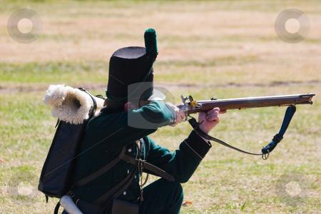 Taking Aim stock photo, Period soldier taking aim by Nicholas Rjabow