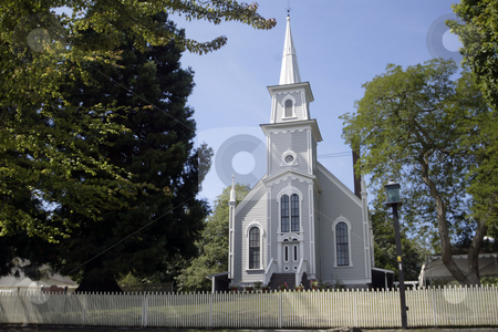 St. Pauls Catholic church stock photo, August 14, 2004 :  St. Pauls Catholic church sits at the entrance of the town of Port Gamble a historical town in Port Gamble, Washington. by Jesse Beals