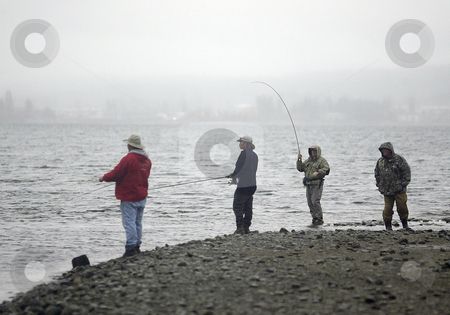 Chum Salmon Fishing stock photo, November 15, 2004:   Local fisherman lines the beaches along the mouth of the Chico Creek stream in hopes of landing a Chum Salmon during the annual winter Salmon run in Chico, Washington. by Jesse Beals