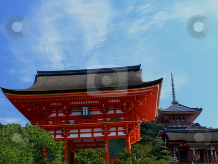 Temple Gate stock photo, Kiyomizu-Dera Temple gate stands imposing against the sky, with Kiyomizu-Dera Temple in the background. Kyoto, Japan by Martin Darley