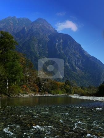 Alpine Mountin stock photo, Mount Myojin towers over the Azusa River, at the heart of the Japanese Alps. Kamikochi, Nagano Prefecture, Japan by Martin Darley