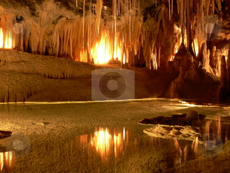 Reflecting Cave stock photo, Light reflects off the water on the floor of a cave. Mole Creek, Tasmania, Australia by Martin Darley