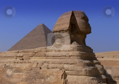Pyramid and sphinx stock photo, The Great Sphinx of Giza, silently guarding the Great Pyramids by Martin Darley