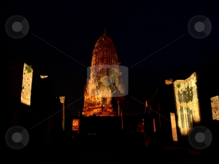Bhuddist Temple at night stock photo, Night Shot of Wat Ratcha Burana in central Ayutthaya, the former capital of Thailand. by Martin Darley