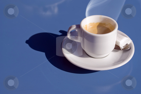 Italian coffee stock photo, Hot italian coffee on a blue table by Serge VILLA