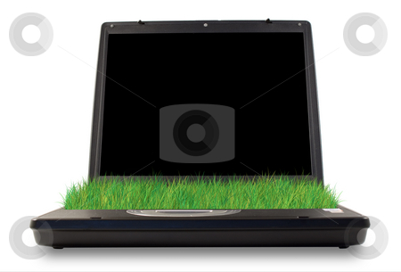 Green computer stock photo, Computer with grass in the place of keyboard by Paulo Resende