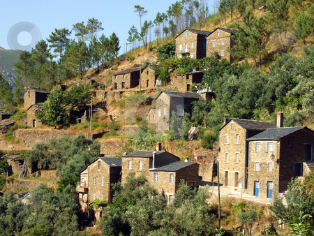 Village of Piod stock photo, Typical stone village in the mountain by Paulo Resende