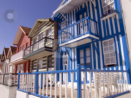 Typical fisherman house in Costa Nova - Portugal stock photo, Stripe houses in Costa Nova - Portugal by Paulo Resende