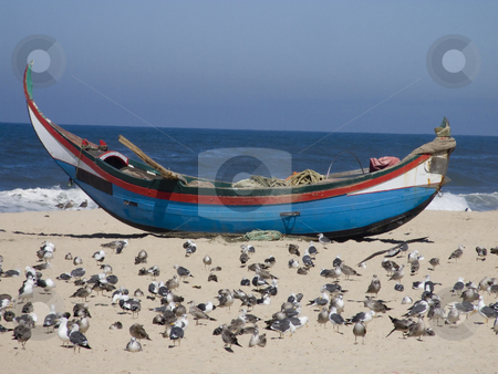 Fisherman boat on the sand stock photo, Fisherman boat waiting to go to the sea. Lots of seaguls in the sand by Paulo Resende