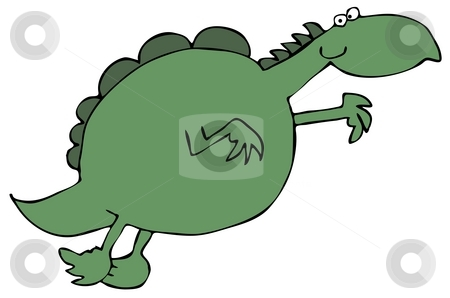 Leaping Dinosaur stock photo, This illustration depicts a green dinosaur leaping through the air. by Dennis Cox