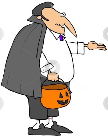 Trick or Treat Vampire stock photo, This illustration depicts a vampire holding his hand out and a Halloween pumpkin for candy. by Dennis Cox