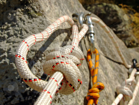 Canyoning rope stock photo, Detail on a canyoning rope by Paulo Resende