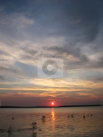 Sunrise Over Lake - Orman Dam stock photo, Taken At A Near By Lake Close To My Home Town Of Belle Fourche South Dakota by Brian Meyer