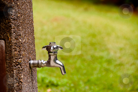 Spigot stock photo, A outdoor spigot ready to spit out water. by Robert Byron