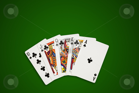 Poker cards on green, clipping path. stock photo, Rotyal flush, poker hand on green table. Clippin path excludes the shadow. by Pablo Caridad
