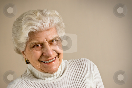 Senior lady portrait  stock photo, Senior lady portrait, smiling, with copy space. by Pablo Caridad