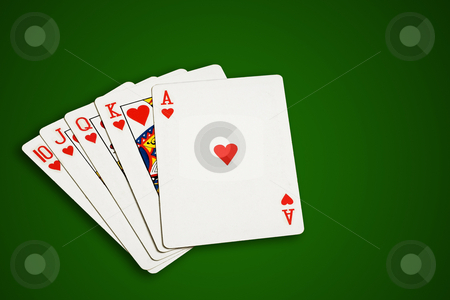 Poker cards. stock photo, Poker cards on green  background, isolated, clipping path excludes the shadow. by Pablo Caridad