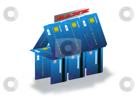 Bank model stock photo, Unstable economy illustration with banks build on credit card. by Serge VILLA