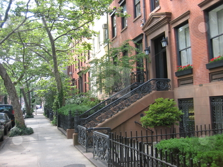 Brownstones stock photo, Brownstones in New York City by Tom Falco
