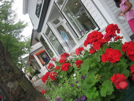 Main Street stock photo, Hamptons Street wtih geraniums by Tom Falco