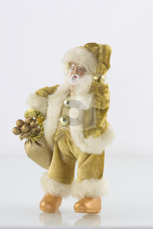 Golden Santa Claus stock photo, Golden Santa Claus against a light background by Inge Schepers