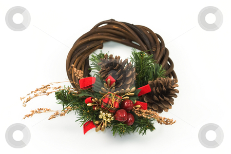 Christmas Wreath stock photo, Christmas wreath against a light background by Inge Schepers