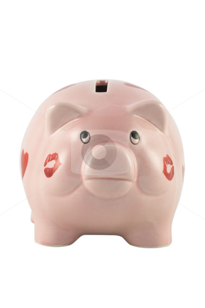 Piggy Bank stock photo, Piggy Bank isolated against a white background by Inge Schepers