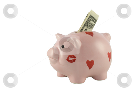 Piggy Bank With One Dollar Bill stock photo, Piggy bank with one Dollar bill isolated against a white background by Inge Schepers