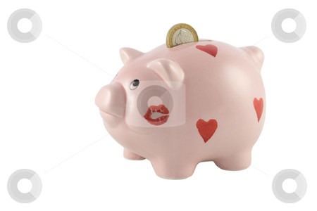 Piggy Bank with One Euro Coin stock photo, Piggy bank with one Euro coin isolated against a white background by Inge Schepers