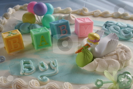 Baby Shower Cake stock photo, Cake for a baby boy shower by Debbie Hayes