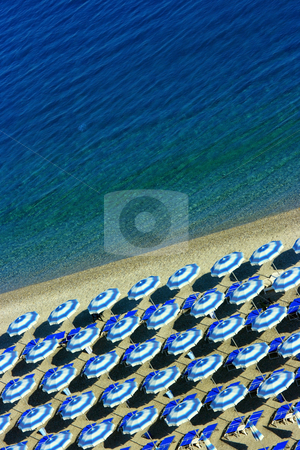 Beach geometry vertical stock photo, Aerial shot of beach with perfectly arranged parasols by Natalia Macheda