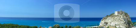 Extremely long panorama of Tropea skyline stock photo, Extremely long panorama of Tropea skyline with a beautiful palace on the right by Natalia Macheda