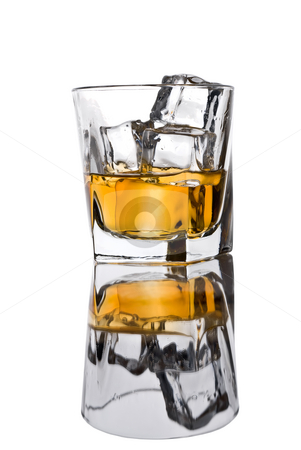 Glass of whiskey with ice stock photo, Glass of whiskey with ice by Vince Clements