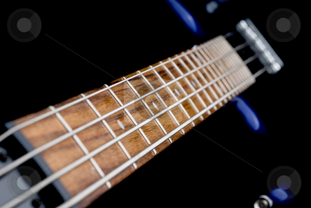 Bass guitar stock photo, Macro of a bass guitar neck by Vince Clements