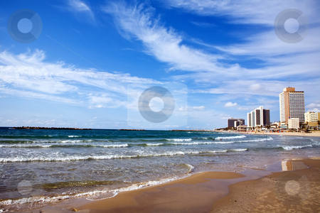 View of a Tel-Aviv beach stock photo, View of a Tel-Aviv beach, Israel by Vitaly Sokolovskiy