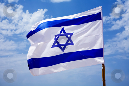 National flag of Israel  stock photo, National flag of Israel outdoors by Vitaly Sokolovskiy