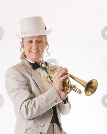 Woman trumpet player stock photo, A woman in a tuxedo poses with her trumpet by RCarner Photography