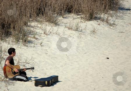 Beach Musician stock photo,  by Liane Harrold