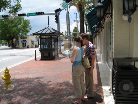 Lost tourist stock photo, Lost tourists in Coconut Grove, Florida by Tom Falco